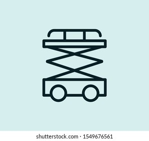 Scissor lift icon line isolated on clean background. Scissor lift icon concept drawing icon line in modern style. Vector illustration for your web mobile logo app UI design.