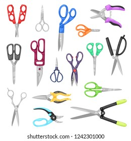 Scissor vector professional pair of scissors cutting hair or scissoring with cutter and pruning shears prune or secateurs cut in garden illustration set of nail-scissors isolated on white background