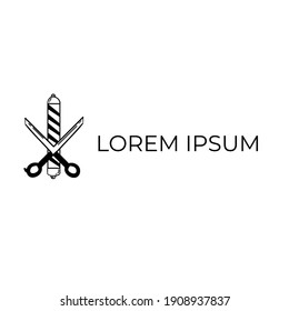Scissors with Barber pole vector for simple barbershop logo.