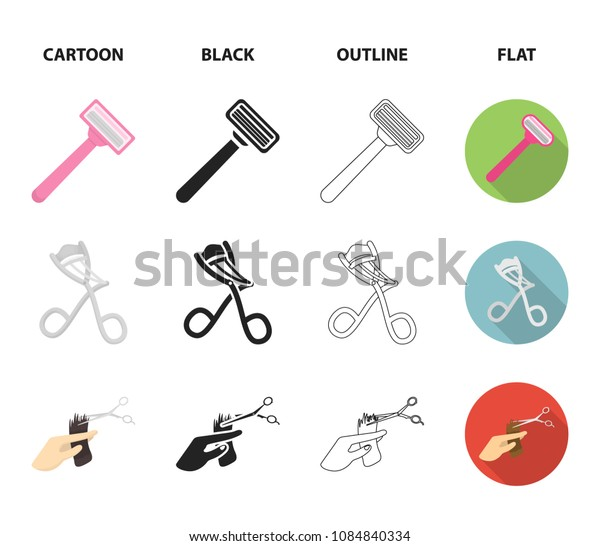 Scissors, brush, razor and other equipment. Hairdresser set collection icons in cartoon,black,outline,flat style vector symbol stock illustration web.