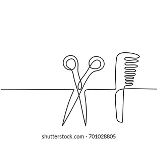 Scissors and comb business icon. Continuous line drawing. Vector illustration