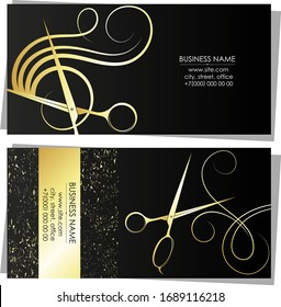 Scissors and comb gold silhouette business card for beauty salon and hairdresser