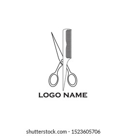 Scissors and comb icon.modern design.vector illustration.flat logo.barber