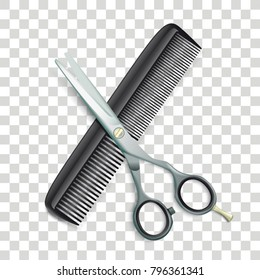 Scissors and comb on the checked background. Eps 10 vector file.