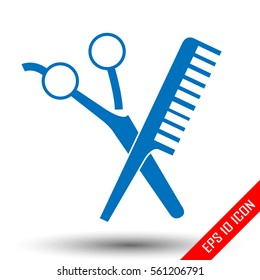 Scissors and comp icons. Barbershop Icon. Hair salon. picture. Barbershop Icon Flat. Shapes of scissors and comb isolated on white background. Vector illustration.