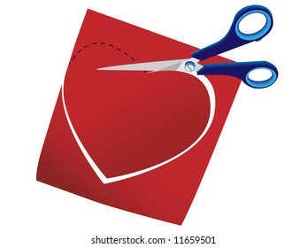Scissors cut a background from a paper heart in a vector