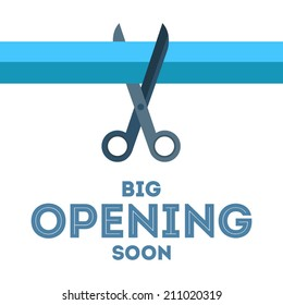 Scissors cut the blue ribbon vector poster with text �«Big opening soon�» below