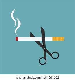 scissors cut a cigarettes, concept for anti smoking