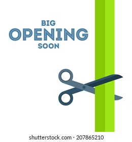 Scissors cut the green ribbon vector poster with text �«Big opening soon�» from the left