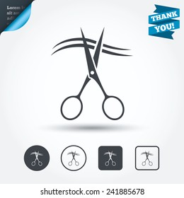 Scissors cut hair sign icon. Hairdresser or barbershop symbol. Circle and square buttons. Flat design set. Thank you ribbon. Vector
