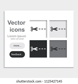 Scissors with cut lines flat placed on web page template vector icon.