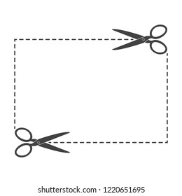 Scissors with cut lines. Vector illustration. Coupon border with scissors