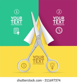 Scissors Cut Paper Option Banner. Individual Parts of a Whole. Vector illustration