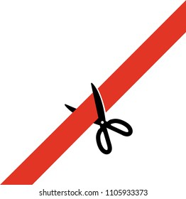 Scissors cut the red tape. Simply, schematically flat Transparent isolated. Opening Event. Vector illustration flat stock