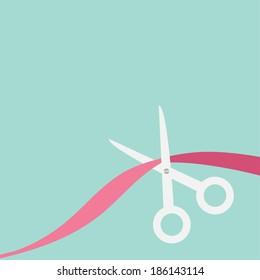Scissors cut the ribbon. Flat design style. Vector illustration.