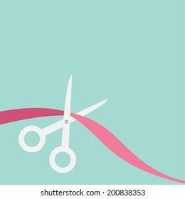 Scissors cut the ribbon on the left. Flat design style. Vector illustration