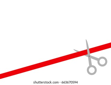 Scissors cut straight red ribbon on the right. Business beginnings event. Launch startup concept. Grand opening celebration sign symbol Flat design style White background Isolated. Vector illustration