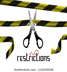 The scissors cut the tape prohibiting. Lettering-there are no restrictions. Image for clothing, background, postcard, poster, etc.