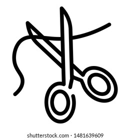 Scissors cut thread icon. Outline scissors cut thread vector icon for web design isolated on white background