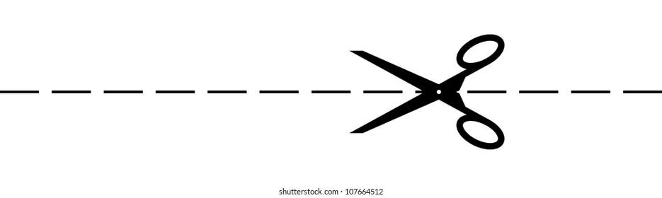 scissors cutting along the line