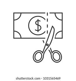 Scissors cutting money icon