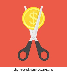 Scissors cutting money. Sale and Discounts symbol. Concept of cost reduction or cut price. Vector illustration in flat style. EPS 10.