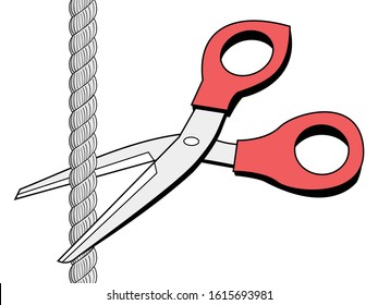 Scissors cutting rope. Concepts of  weakness, danger, separation