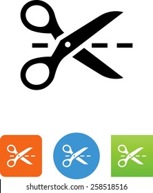 Scissors with a dashed line icon