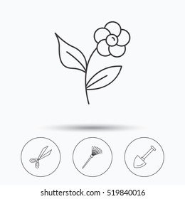 Scissors, flower and shovel icons. Rake linear sign. Linear icons in circle buttons. Flat web symbols. Vector