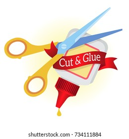 Scissors and glue. Cut and glue a symbol for the design work in the DIY style.