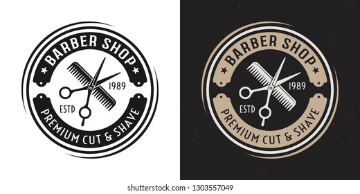 Scissors and hair comb vector two style black and colored vintage round badge, emblem, label or logo for barbershop on white and dark background