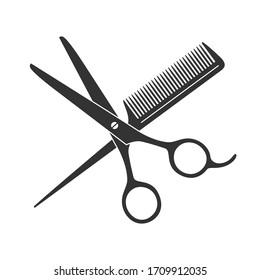 Scissors and hairbrush graphic icon. Sign crossed scissors and hairbrush isolated on white background. Barbershop symbols. Vector illustration