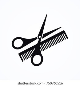scissors hairbrush icon
