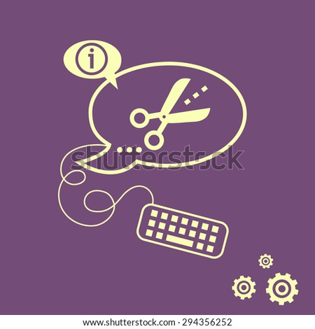 Scissors Icon Cut Lines Keyboard Design Stock Vector Royalty Free
