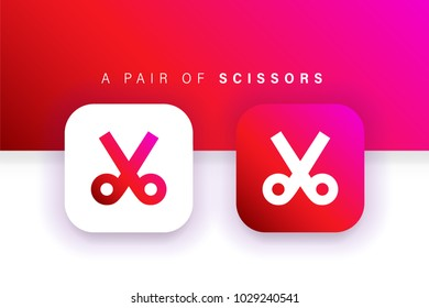 Scissors Icon. Cut, trim icon. Square contained. Use for brand logo, application, ux-ui, web. Red design. Compatible with jpg, png, eps, cdr, svg, pdf, ico, gif.