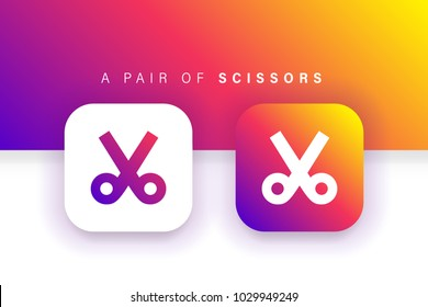 Scissors icon. Cut icon. Trim icon. Square contained. Use for brand logo, application, ux/ui, web. Colorful design. Compatible with jpg, png, eps, ai, cdr, svg, pdf, ico, gif.