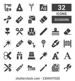 scissors icon set. Collection of 32 filled scissors icons included Shears, Embroidery, Makeup, Garden, Scissors, Font, Comb, Thimble, Nail clippers, Cut, Saloon, Scissor, Threader