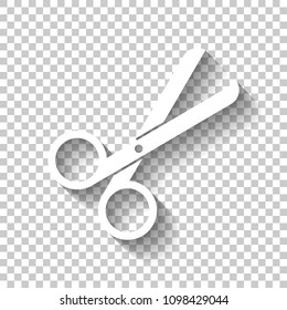 Scissors icon. Tool of barber. White icon with shadow on transparent background