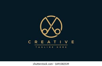 Scissors icon vector illustration. Barber haircut salon logo design.
