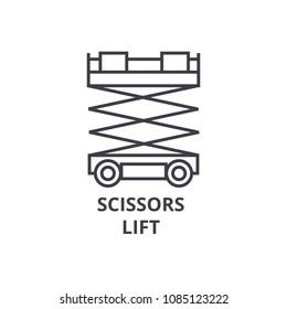 scissors lift vector line icon, sign, illustration on background, editable strokes