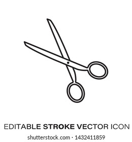 Scissors line icon. Outline symbol of cutting and tailoring. Editable stroke flat vector illustration.