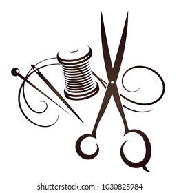 Scissors and needle with thread set for sewing