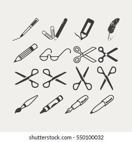 scissors, pens and pencils.vector icon