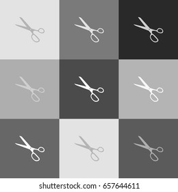 Scissors sign illustration. Vector. Grayscale version of Popart-style icon.