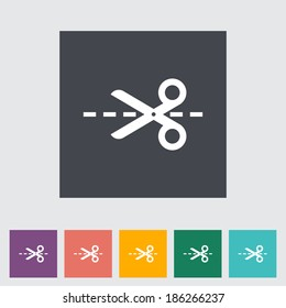 Scissors. Single flat icon on the button. Vector illustration.