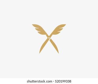 Scissors wings logo design. Colorful vector icon logotype. Barber shop symbol sign.