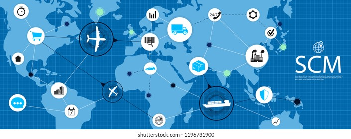 SCM - Supply Chain Management / Supply Chain Management SCM / Aspects of Modern Company Logistics Processes On a Schematic Map / Vector illustration SCM