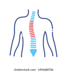 Scoliosis line color icon. Spinal deformity concept. Sign for web page, mobile app, button, logo. Vector isolated button. Editable stroke.