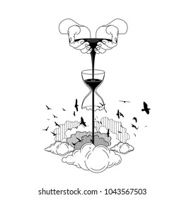 scoop up black water sand with hands. fall sand time broken. something fall on cloud for born of freedom. bird silhouette fly on sky. line art vector illustration. design for tattoo. digital drawing.