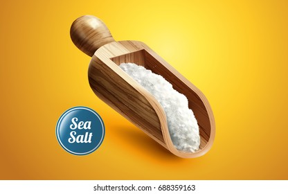 A scoop of sea salt in wooden container, isolated on yellow background in 3d illustration